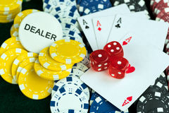 Gambling Red Dice Poker Cards and Money Chips Royalty Free Stock Photos