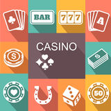 Gambling related icons Poster. Card and casino Stock Image