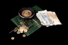 Gambling with roulette Stock Photography