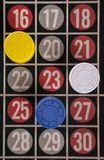 Gambling on a roulette table with different chips. Abstract Royalty Free Stock Images