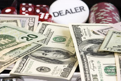 Gambling set. Gambling background with dollars,dices and chips stock photos