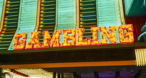 Gambling sign in Las Vegas - LAS VEGAS - NEVADA - APRIL 23, 2017. Gambling sign in Las Vegas - LAS VEGAS - NEVADA royalty free stock photography
