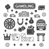 Gambling silhouette icons set. Casino concept collection royalty free illustration