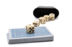 Gambling. Or social games cards and dices isolated on white background royalty free stock image