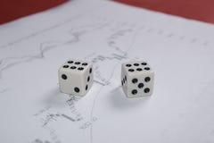 Gambling on stock market exchange. Photo of playing dice stock market chart Stock Image