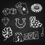Gambling symbols sketches set Royalty Free Stock Images