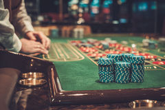 Gambling table in luxury casino.  Royalty Free Stock Image