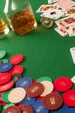 Gambling table and poker chips Stock Image