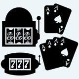 Gambling, winning in slot machine and poker cards Royalty Free Stock Image