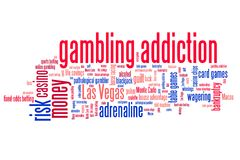 Gambling words. Gambling addiction concepts word cloud illustration. Word collage concept Stock Photos