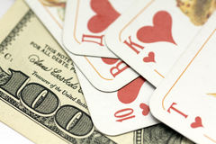 Gamblings. Dollars and cards in game Royalty Free Stock Image
