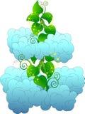Gambo di una pianta di fagioli magico fra le nuvole lanuginose royalty illustrazione gratis
