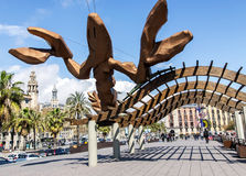 Gambrinus - Barcelona's Giant Lobster Statue. SPAIN, BARCELONA, MARCH, 20, 2016 - Gambrinus- giant  happiest lobster sculpture with big pinching claws and a Stock Image