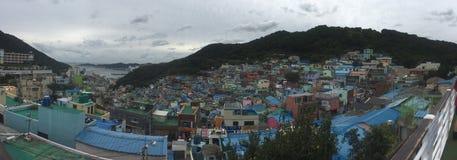 Gamcheon文化村庄全景  免版税图库摄影