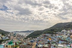 Gamcheon文化村庄在釜山,韩国 免版税库存图片