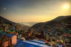 Gamcheon slumkvarter i Busan Korea arkivfoton