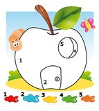 Game 101, the apple. Colored illustration of a game for children Royalty Free Stock Image