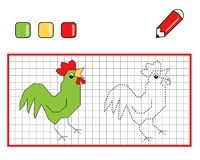 Game 105, The rooster to be color. Page for children to be color and to complete vector illustration