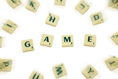 The Game. 'Game' word composed from scrabble bricks Stock Photos
