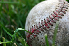 After the Game. A worn, beaten baseball in the grass. I found this old baseball in my shed and thought the texture and detail would make a great picture. Focus royalty free stock photos