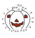 Game 129, pumpkin. The game of the dots for children Stock Images