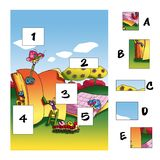 game 131, the lacking pieces. Colored illustration of a game for children Stock Images