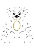 Game 35, the bear. Digital illustration of a game for children. You unite the dots from 1 to 47 to discover the hidden animal Stock Photos