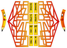 Game 4. Color illustration of a game that combines the fun of the maze to mathematics Stock Image