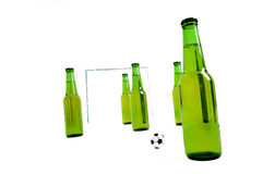 Game. Beer bottles palying a soccer game Stock Photos