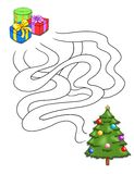 Game 69, the gifts. Digital illustration of a game for children. You put the gifts under the tree Vector Illustration