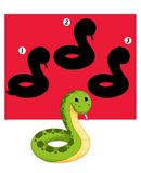 Game 76, the shade of the snake. Digital illustration of a game for children. You guess the exact shade of the snake stock illustration