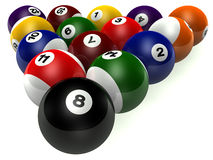 Game. Billiard table and balls numbers made in 3d Stock Photo