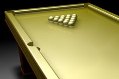 Game. 3d gold pool table, with gold balls Royalty Free Stock Photography