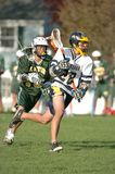 Boys High School Lacrosse. Game action of a boys High School Lacrosse game in Central New jersey Stock Photo