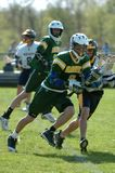 Boys High School Lacrosse. Game action of a boys High School Lacrosse game in Central New jersey royalty free stock image