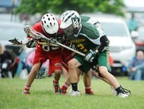 Boys Lacrosse Tournament. Game action of a boys Lacrosse game in a tournament in New Jersey Royalty Free Stock Photography