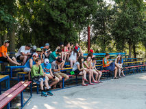 Game activities in a children's camp in Russian city Anapa of the Krasnodar region. Royalty Free Stock Image