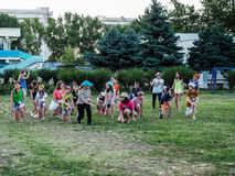 Game activities in a children's camp in Russian city Anapa of the Krasnodar region. In the summer children's health camps every day there are various sports stock photo