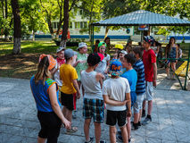 Game activities in a children's camp in Russian city Anapa of the Krasnodar region. Stock Photography