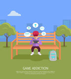 Game Addiction Banner Stock Image