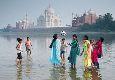 Game, Agra, India. College girls are playing with ball with village boys Stock Photo