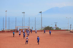 The game of amateur teams in Antofagasta, Chile Royalty Free Stock Images