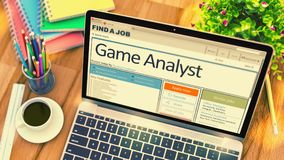 Game Analyst Job Vacancy. 3D. Game Analyst - Job Searching Concept. Hiring Concept. 3D Render stock images