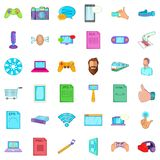 Game app icons set, cartoon style Stock Image