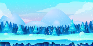 Game application.. Beautiful Winter Landscape 2d game application. Vector design. Tileable horizontally. Size 1024x512. Ready for parallax effect Royalty Free Stock Photos