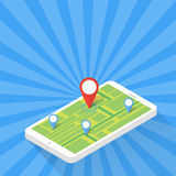 Game Application Concept. Gps Map Navigation with Phone Screen. Vector Illustration Stock Image