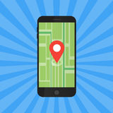 Game Application Concept. Gps Map Navigation with Phone Screen. Vector Illustration Stock Images