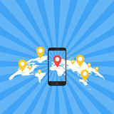 Game Application Concept. Gps Map Navigation with Phone Screen. Vector Illustration Royalty Free Stock Images