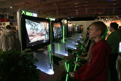Game Arena. PGA - Poznan Game Arena - 22-23.11.2008. International exhibition of video and computer games in Poznan, Poland. One of the biggest exhibition like Stock Image