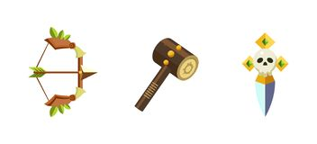 Game assets collection, mobile game user interface GUI vector Illustration. Web design stock illustration